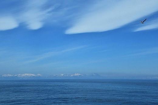 山の頂にまだ雪の残る千島列島を眺め、ロシアへ航行しています。