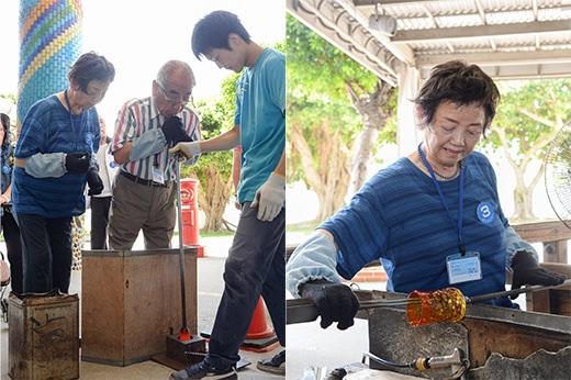 琉球ガラス村にてグラス作りに挑戦