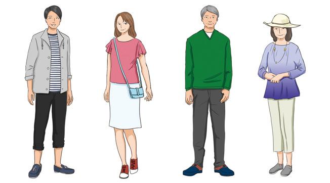 (男性)ポロシャツ、セーター、スラックスなど (女性)ブラウス、スカートなど