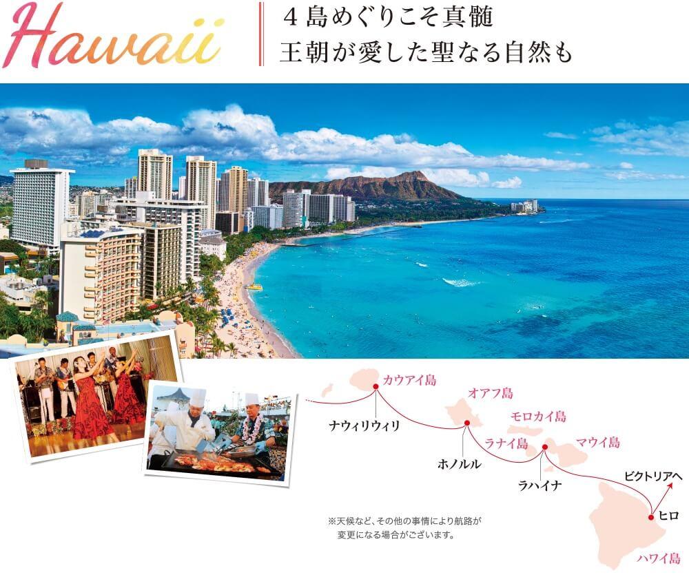 Hawaii 4島めぐりこそ真髄王朝が愛した聖なる自然も ※天候など、その他の事情により航路が変更になる場合がございます。