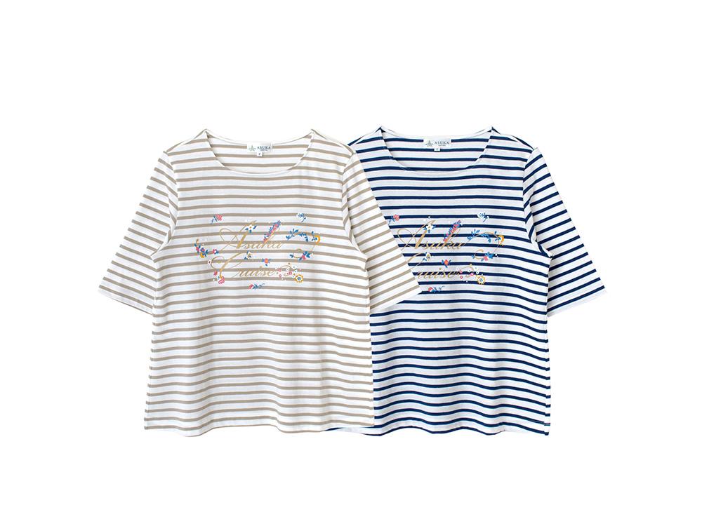 レディースボーダーフラワーTシャツ